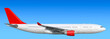 canvas print picture - Large heavy modern wide body passenger twin jet engine airplane flying side panoramic detailed close up exterior view reference isolated on blue sky background air travel transportation red theme