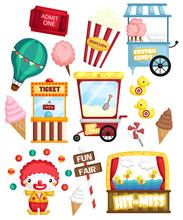 A Carnival Vector Set With Many Carnival Items And Object