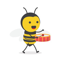 Vector Illustration Character Cartoon Design Cute Honey Yellow Bee Mascot Holding Play Drum Music With In White Background
