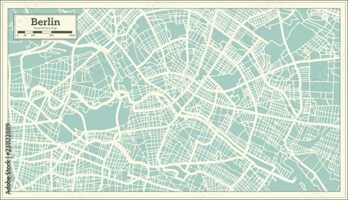 Obraz premium Berlin Niemcy mapa miasta w stylu retro. Mapa konspektu.