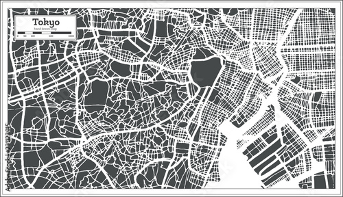 Tokyo Japan City Map in Retro Style. Outline Map. Wallpaper Mural