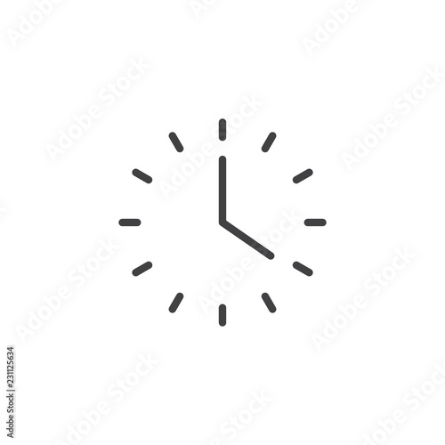 Fototapeta Office wall clock outline icon. linear style sign for mobile concept and web design. Watch simple line vector icon. Time symbol, logo illustration. Pixel perfect vector graphics obraz na płótnie