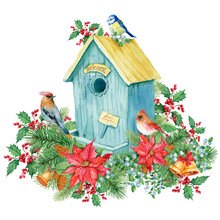 Winter Birdhouse With Birds,