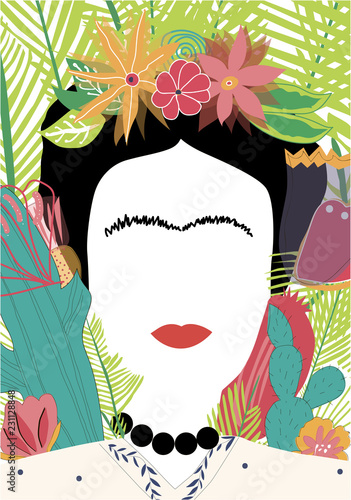 Foto Portrait of Mexican or Spanish woman minimalist Frida Kahlo with flowers, leaves