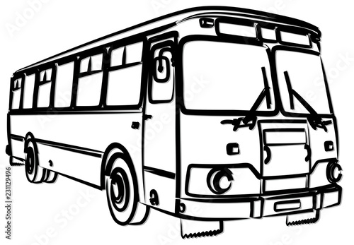 Obraz na plátně Набросок автобуса.
