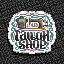 Vector Banners For Tailor Shop With Copy Space, Leaflets With Sewing Machine, Male Mannequin With Measure Tape For Suit Apparel, Original Typeface For Words Tailor Shop, Voucher For Luxury Boutique.