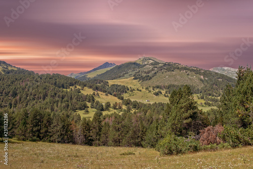 Mountains of aran valley during sunrise, Lleida Wallpaper Mural