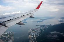 Aerial View Landscape And Cityscape Of HongKong Island From Airbus Flying From Bangkok To Hong Kong, China