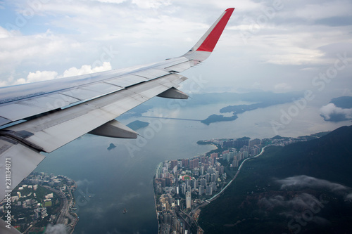 Fotografia, Obraz  Aerial view landscape and cityscape of HongKong island from airbus flying from B