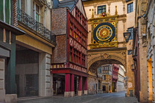 Rue Du Gros Horloge Or Great-clock Street With Famos Great Clocks In Rouen, Normandy, France