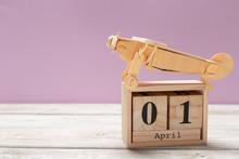 April 1st. Image Of April 1 Wooden Color Calendar On Wooden Background. Spring Day