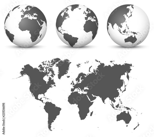 Gray 3D Globe - Earth Vector Set with Undistorted 2D World ...