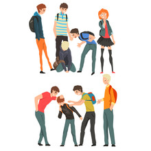 Conflict Between Teenagers, Mockery And Bullying At School Vector Illustration On A White Background