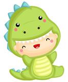 Fototapeta Dinusie - a cute baby wearing a dinosaur costume