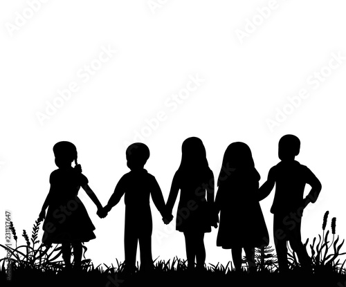 silhouette, children playing in nature
