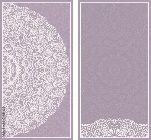 Fototapeta Wedding Invitation Card With Lace Pattern Greeting Card Design Beautiful Luxury Postcard Ornate Brochure Page Cover Vector Abstract