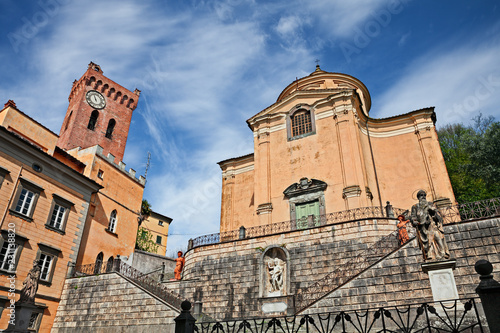 Photo  San Miniato, Pisa, Tuscany, Italy: Church of the Holy Cross and medieval tower o