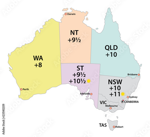 Australia Map Time Zones.Australia Uses Three Main Time Zones Vector Map Buy This Stock