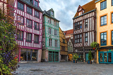Medieval Square With Typical Houses In Old Town Of Rouen, Normandy, France