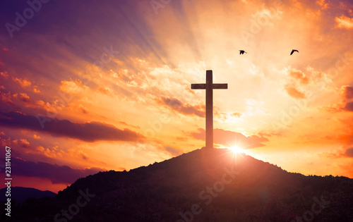 Leinwand Poster Christmas concept: Crucifixion Of Jesus Christ Cross At Sunset