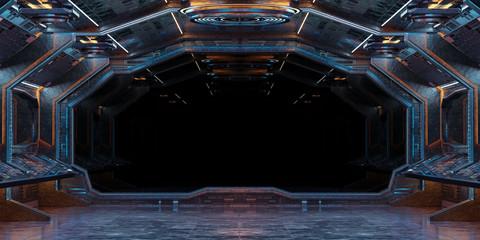 Fototapeta Grunge Spaceship interior background 3D rendering