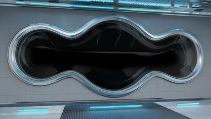 Fototapeta White tech spaceship round window interior background 3D rendering