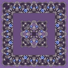 Square Composition With Silver Scrolls And Leaves. Design Of Kerchief