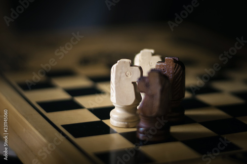 Photographie  four chess horses