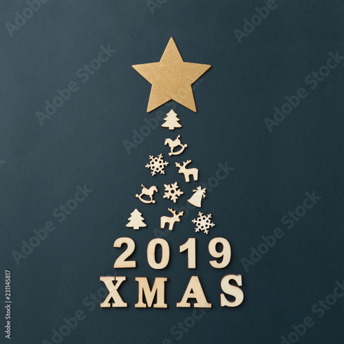Christmas Card With Text Xmas 2019 A Large Christmas Tree On A Dark