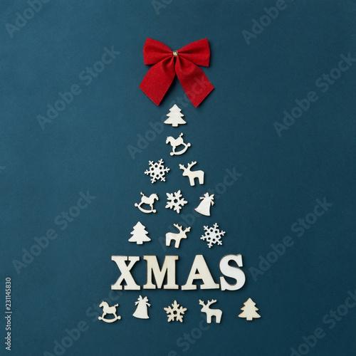 Christmas Card With Text Xmas A Large Christmas Tree On A Dark