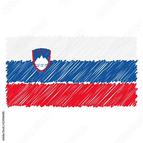 Fotografía  Hand Drawn National Flag Of Slovenia Isolated On A White Background