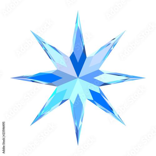 Fotografía  Cute blue bright motley stylized snowflake, star