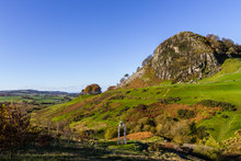 Loudoun Hill  And The Spirit Of Scotland Monument. The Hill Is A Volcanic Plug Near Darvel, East Ayrshire, Scotland, United Kingdom.
