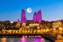 Night View Of The Skyscrapers In Baku. The Republic Of Azerbaijan