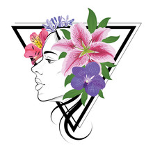 Woman Face And Peruvian Lily, Orchid, African Lily And Lilies Flowers On Triangle Frame. Vector Set Of Blooming Floral For Tattoo Wedding Invitations And Greeting Card Design.