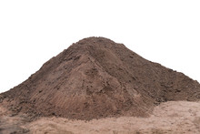 Wet Pile Of Building Sand Isolated On White Background