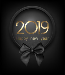 Fototapeta Happy New Year 2019 card with black satin bow.