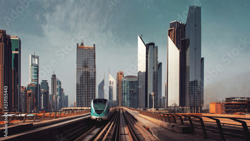 Fototapeta streets of a large modern city. Skyscrapers and above ground subway Of Dubai obraz