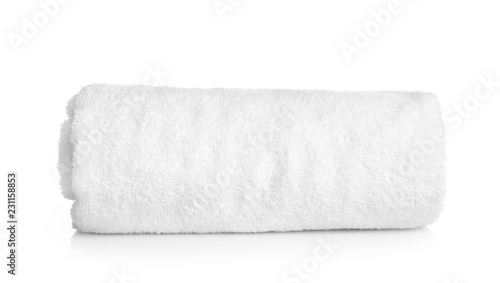 Foto Clean rolled towel on white background