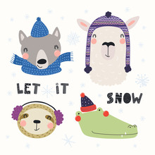 Set With Cute Animals Wolf, Sl...