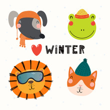 Set With Cute Animals Dog, Frog, Lion, Cat In Warm Hats, Mufflers. Isolated Objects On White Background. Hand Drawn Vector Illustration. Scandinavian Style Flat Design. Concept For Children Print.