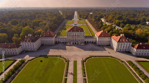 Fotografiet  Aerial view of the palace and park ensemble Nymphenburg in Munich
