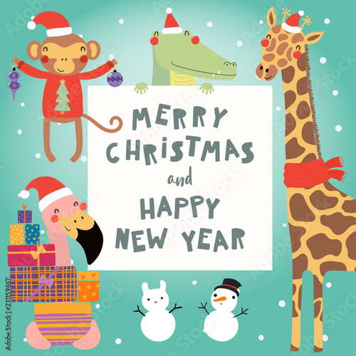 Spoed Fotobehang Illustraties Hand drawn card with cute funny animals in Santa Claus hats, smowmen, text Merry Christmas and Happy New Year. Vector illustration. Scandinavian style flat design. Concept for children print.
