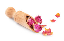 Wooden Scoop With Dried Roses ...