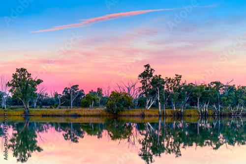Poster Oceanië Murray river at sunset, Riverland, South Australia