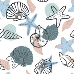Panel Szklany Podświetlane Do gastronomi Seashell seamless pattern. design for holiday greeting card and invitation of seasonal summer holidays, summer beach parties, tourism and travel.