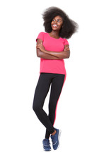 Full Body Happy African American Sports Woman Standing Against Isolated White Background