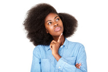 Close Up Thinking Young Black Woman With Afro Looking Up At Copy Space
