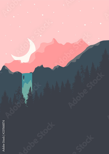 Fototapeta Beautiful vector landscape with waterfall, moon and mountains. obraz na płótnie