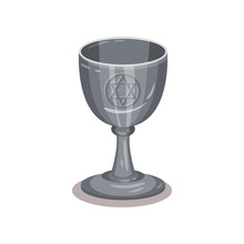 Silver Goblet With Pentagram Symbol. Old Cup For Divination. Object For Ritual. Flat Vector Design
